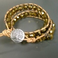 Czech Golden Double Wrap Leather Bracelet