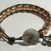 Gold Beads Greek Leather Bracelet