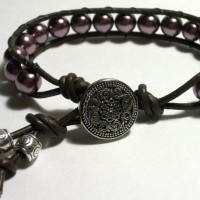 Lavender Beads Leather Bracelet