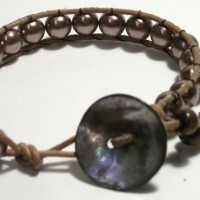 Mauve Beads Leather Bracelet