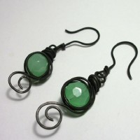 Mint Coal Earrings