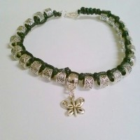Silver and Black Leather Charm Bracelet