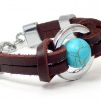 Blue Saturn Leather Bracelet
