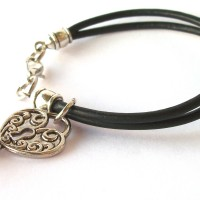 black leather lock charm bracelet with labrodite charm