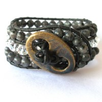 blackish gray and crystal 3 row braclet brown ceramic button