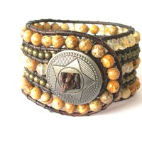 five row brown leather bracelet start butto
