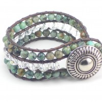 African Turquoise Three Row Wave Button Bracelet