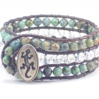 African Turquoise Three Row with Gecko