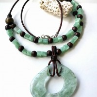 Sea Foam green and brown glass necklace set