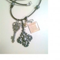 Goth Charm leather Necklace 2