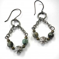 African Turquoise and Chain Earrings