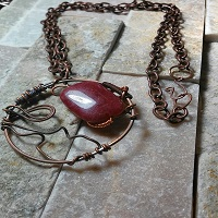 Crimson Wire Wrapped Necklace angled