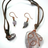 Lavender wire wrapped glass necklace earring set