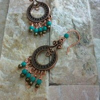 Antique Bronze Turquoise Earrings 2