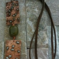 Copper and Green Stone Leather Necklace