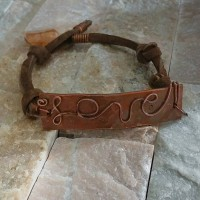 Hammered Copper Love Bracelet