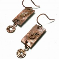 Hammered Swirl Copper Earrings 2