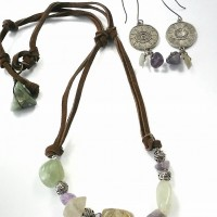 Lavender and Green Stone Leather Necklace and Earring Set