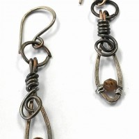 Rustic Silver Wire Wrapped Earrings