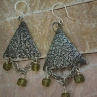 Silver Floral Triangle Metal Earrings