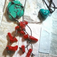 Turquoise and Coral necklace 4