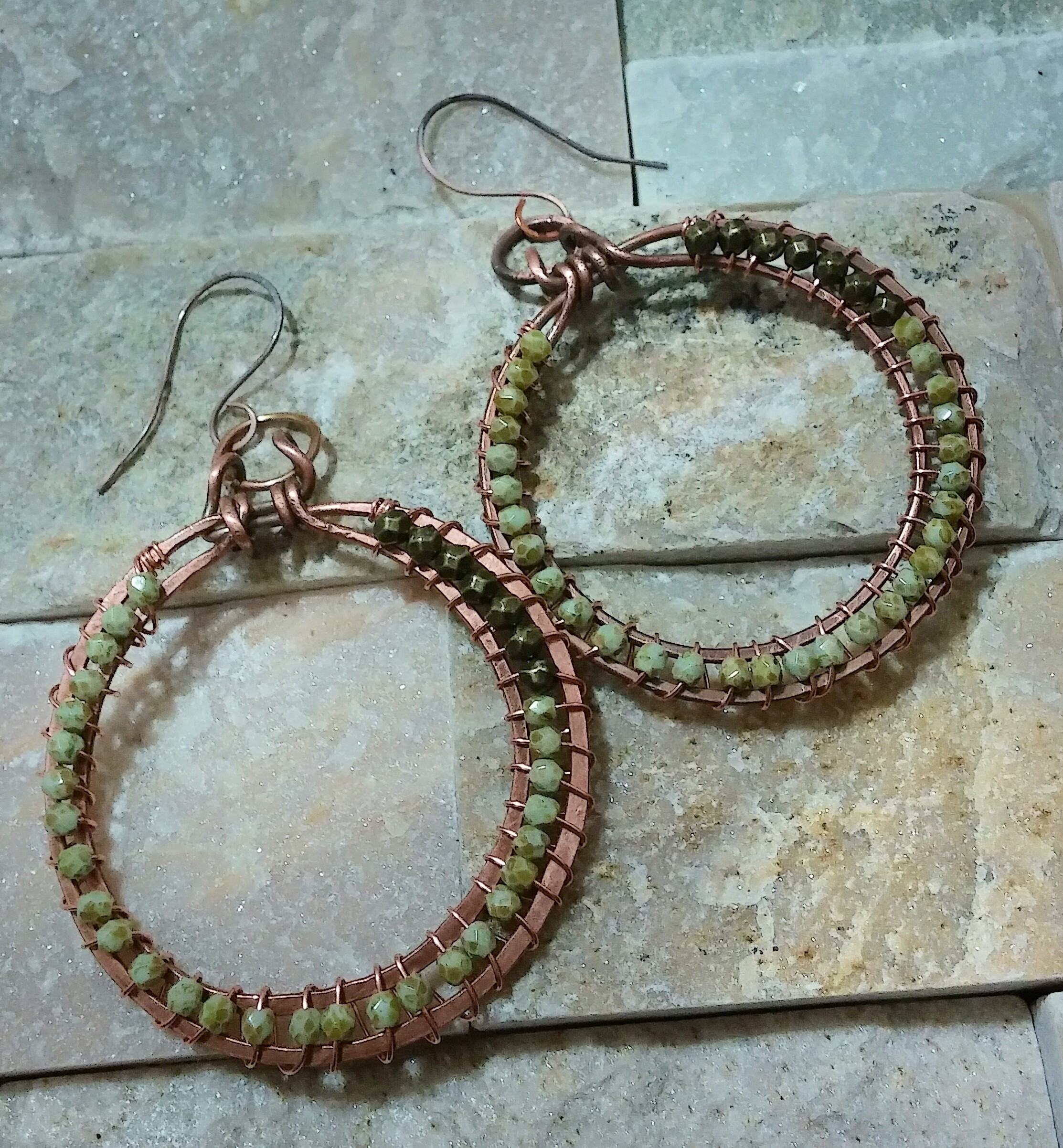 Handmade Copper Wire Wrapped Hoop Earrings with Fire Polished Czech ...